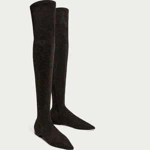 Zara Flat Multi Colored Over the Knee Boots